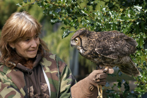 Jaye Moore with Great Horned Owl